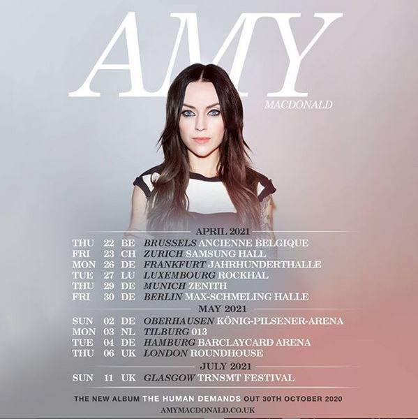 Amy will be on tour across the UK and Europe in 2021.