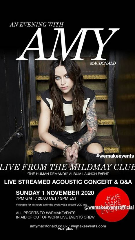 An evening with Amy Macdonald, live from the Mildmay Club on November 1, 2020
