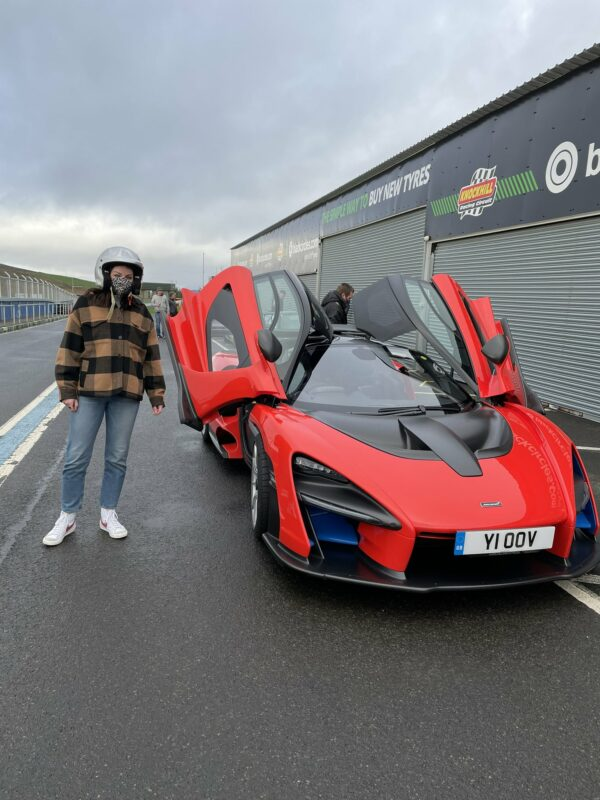 Amy Macdonald tests the McLaren Senna at the Knockhill Circuit